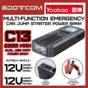 [Ready Stock] Yoobao C13 8000mAh 18W Multi-Function Emergency Car Jump Starter Power Bank
