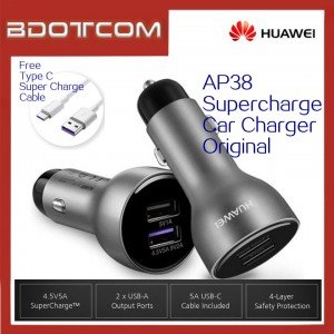 Original Huawei AP38 SuperCharge Super Charge In Car Charger With Type C Cable For Huawei P20 P20 Pro Mate 10 Mate 10 Pro Mate 20 Mate 20X Mate 20 Pro P30 P30 Pro