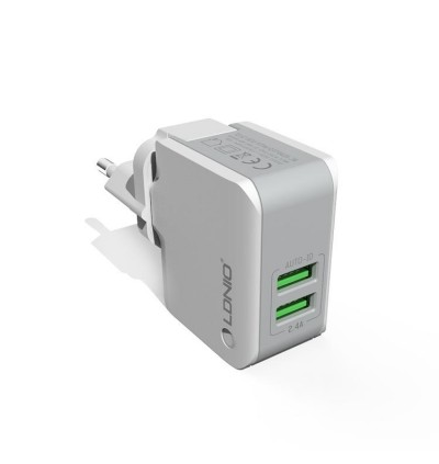 LDNIO A2203 2.4A Dual USB Port Auto-ID Quick Charge Travel Charger Adaptor