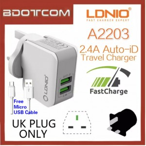 LDNIO A2203 2.4A Dual USB Port Auto-ID Quick Charge Travel Charger Adaptor For Samsung / Apple / Xiaomi / Huawei / Vivo / Oppo
