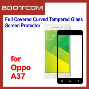 Full Covered Curved Tempered Glass Screen Protector for Oppo A37 (Black)