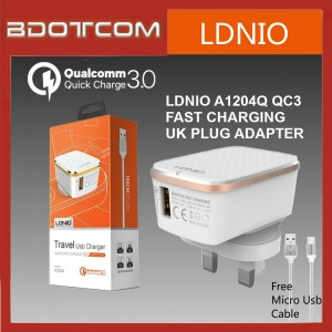 LDNIO A1204Q Auto-ID Qualcomm Quick Charge 3.0 USB Charger Adaptor For Samsung / Apple / Huawei / Xiaomi / Oppo / Vivo