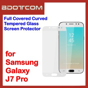 Full Covered Tempered Glass Screen Protector for Samsung Galaxy J7 Pro (White)