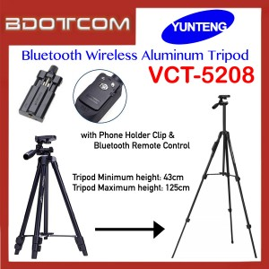 Original YunTeng VCT-5208 Bluetooth Wireless Aluminum Tripod for Camera / Smartphone with Phone Holder Clip and Bluetooth Remote Control