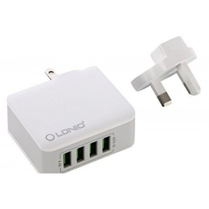 LDNIO 4 ports 4.4A USB Rapid Charger with UK Plug (White)