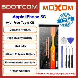 Original MOXOM High Capacity Battery 1440 mAH for Apple iPhone 5G with Free Tools Kit