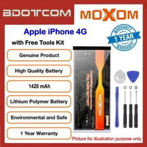 Original MOXOM High Capacity Battery 1420 mAH for Apple iPhone 4G with Free Tools Kit