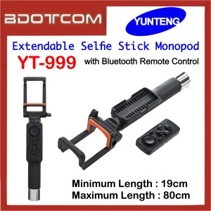 Yunteng YT-999 Extendable Selfie Stick Monopod with Bluetooth Remote Control