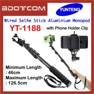 Yunteng YT-1188 Wired Selfie Stick Aluminium Monopod with Phone Holder Clip for Smartphone / Camera