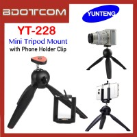 Original Yunteng YT-228 Mini Tripod Mount with Phone Holder Clip for Smartphone / Camera