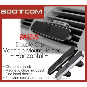 Baseus Double Clip Vehicle Mount Horizontal Magnetic Car Mount Phone Holder