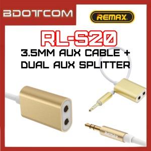 Remax RL-S20 Dual Female 3.5mm Aux Audio Port Splitter + 3.5mm Jack Male Audio Aux Cable