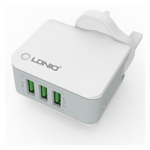LDNIO 3.4A 3 USB Ports Auto ID Travel Charger (White)