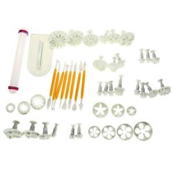 46PCS FLOWER FONDANT CAKE DECORATING KIT COOKIE MOLD ICING PLUNGER CUTTER TOOLS (WHITE)