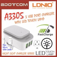 LDNIO A3305 Auto iD 3 USB Port Quick Charge Fast Charge Charger with LED Touch Lamp  For Samsung / Apple / Huawei / Xiaomi / Oppo / Vivo