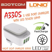 LDNIO A3305 Auto iD 3 USB Port Quick Charge Charger with LED Touch Lamp