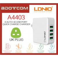 LDNIO A4403 4.4A Quick Charge 4 Port Auto-ID USB Charger For Samsung / Apple / Huawei / Xiaomi / Oppo / Vivo