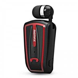 Original Remax RB-T12 Mono Bluetooth Wireless Retractable Clip On Headphone