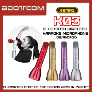 Remax K03 Bluetooth Wireless Microphone Karaoke Speaker for Samsung / Apple / Xiaomi / Huawei / Oppo / Vivo / WeSing / 欢歌 / 天籟K歌 / 全民Party / DingaStar / KaraDoReMi