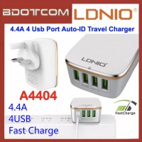 Ldnio A4404 Fast Charging 4 USB Charger 4 Ports Travel Trip Adapter Auto ID 4.4A Output Auto ID For Samsung / Apple / Huawei / Xiaomi / Oppo / Vivo
