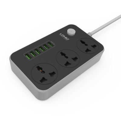 Original LDNIO SC3604 Power Strip with 3 AC Sockets + 6 USB Ports Charger