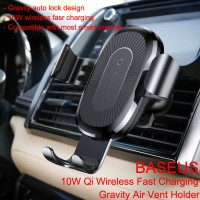 Baseus 10W Qi Wireless Charger Gravity Air Vent Car Mount