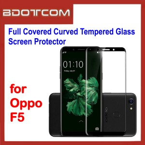 Full Covered Curved Tempered Glass Screen Protector for Oppo F5 (Black)