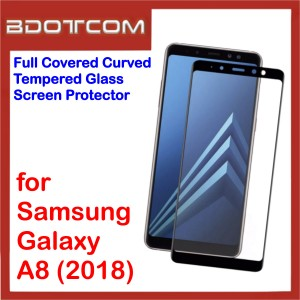 Full Covered Curved Tempered Glass Screen Protector for Samsung Galaxy A8 2018 (Black)