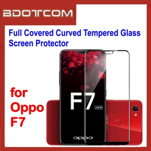 Full Covered Curved Tempered Glass Screen Protector for Oppo F7 (Black)