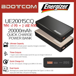 Energizer UE20015CQ 20000mAh QC3.0 Type-C PD + Dual USB Port Quick Charge Power Bank