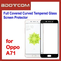 Full Covered Curved Tempered Glass Screen Protector for Oppo A71 (Black)