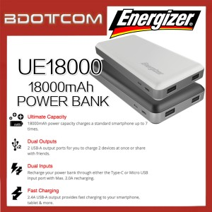 Energizer UE18000 18000mAh Dual USB Port Power Bank with Type-C Input