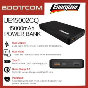 Energizer UE15002CQ 15000mAh Dual USB Port Type-C PD + QC3.0 Fast Charge Power Bank