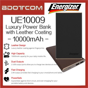 Energizer UE10009 10000mAh Dual Output Power Bank With Leather Coating