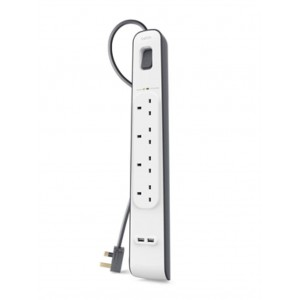 Original Belkin 4 Outlets 2 Metre 2.4amp Surge Protection Strip with 2 USB Ports