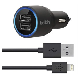 Original Belkin Dual USB Car Charger with Lightning to USB Cable