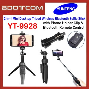 Yunteng YT-9928 2-in-1 Mini Desktop Tripod Wireless Bluetooth Selfie Stick with Phone Holder & Bluetooth Remote Control for Smartphone / Camera