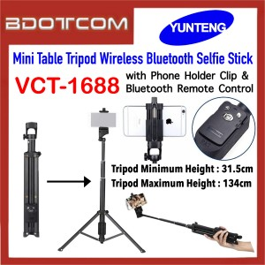 Yunteng VCT-1688 2in1 Mini Table Tripod Wireless Bluetooth Selfie Stick with Phone Holder Clip & Bluetooth Remote Control for SmartPhone / Camera
