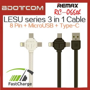 Original Remax RC-066th Lesu series 3 in 1 MicroUSB + Lightning Adaptor + Type-C Adapter Data Cable (White)