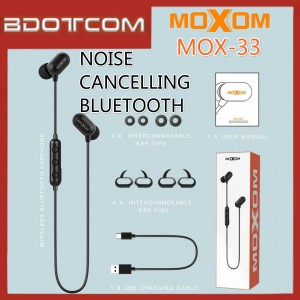Moxom MOX-33 Noise Cancelling Bluetooth Wireless Sport Headphone For Samsung / Apple / Huawei / Xiaomi / Oppo / Vivo / Realme