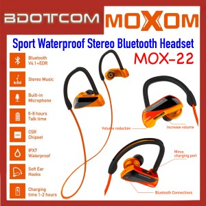 Moxom MOX-22 Noice Cancelling Sport Waterproof Stereo Bluetooth Headset