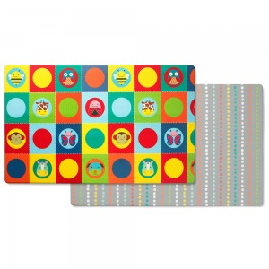 Original Skip Hop Doubleplay Reversible Playmat - Zoo Multi Dots