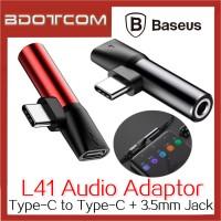 Baseus L41 Type C Male to Type C Female + 3.5mm Female Converter Audio Adaptor