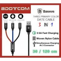 Baseus Three Primary Color 3 IN 1 30cm Data Cable for MicroUSB + Lightning + Type-C