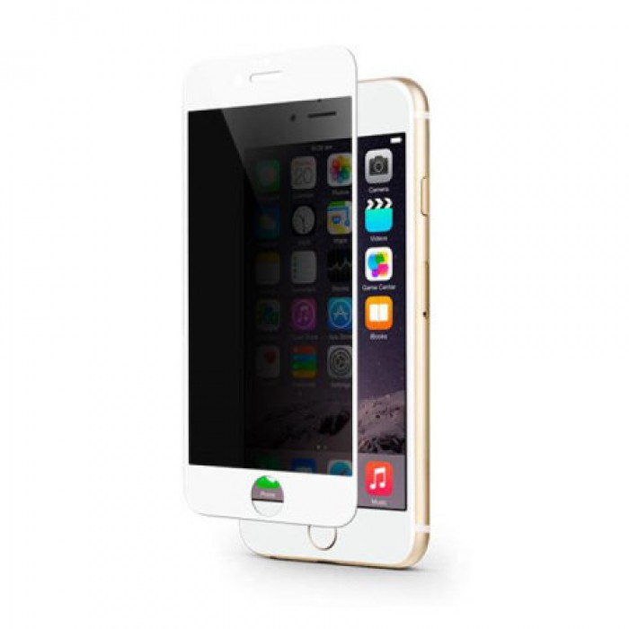 Full Curved Privacy Anti-Spy Tempered Glass for Apple iPhone 6 Plus /6s Plus (White)