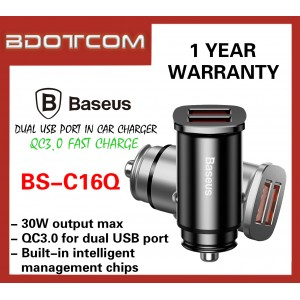 Baseus Square Metal 30W Max Dual USB Port QC3.0 Fast Charge Car Charger