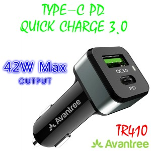 Avantree TR410 42W QC3.0 Type-C PD Fast Charge In Car Charger