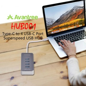 Avantree HUB001 Type-C to 4 USB-C Port Superspeed USB Hub for Macbook