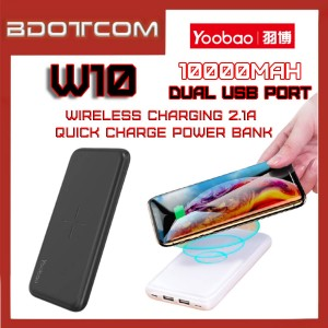 Yoobao W10 10000mAh Dual USB Port Wireless Charging Quick Charge Power Bank