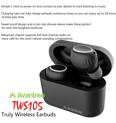 Avantree TWS105 Truly Wireless Earbuds Bluetooth Headphone with Charging Case